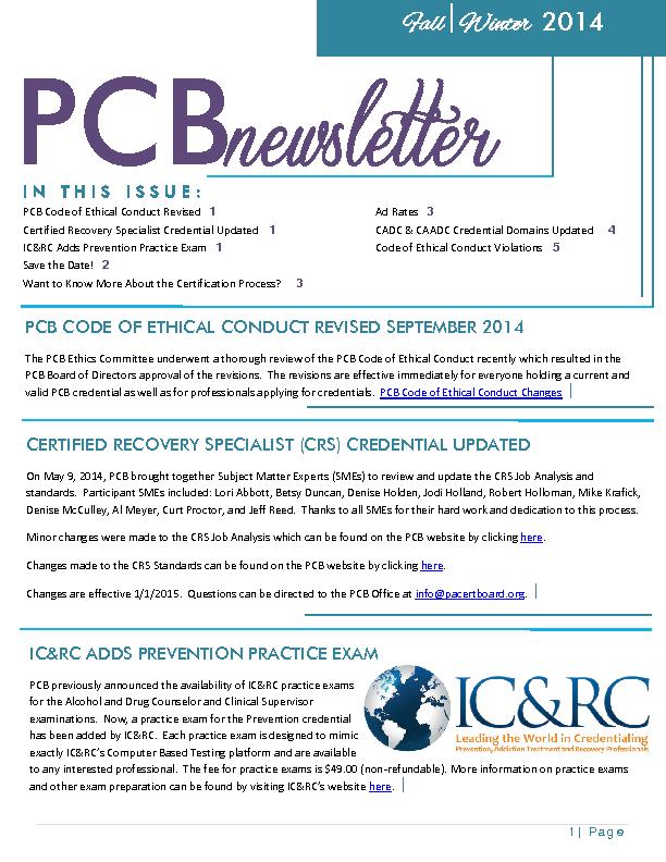 Fallwinter 2014 Newsletter Pennsylvania Certification Board