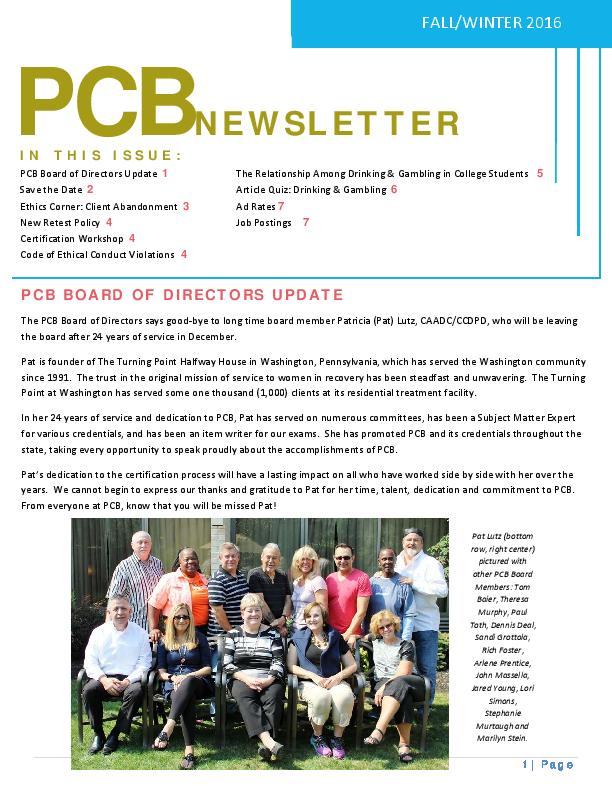 PCB Fall/Winter 2016 Newsletter | Pennsylvania Certification Board