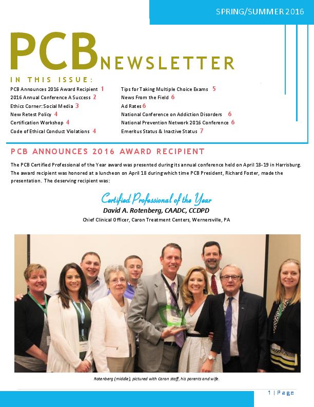 PCB Spring/Summer 2016 Newsletter | Pennsylvania Certification Board