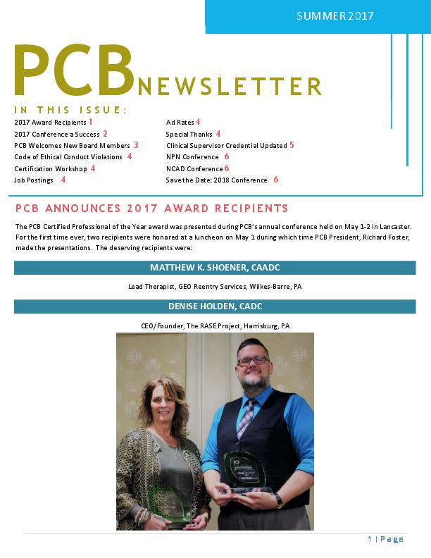 PCB Summer 2017 Newsletter | Pennsylvania Certification Board